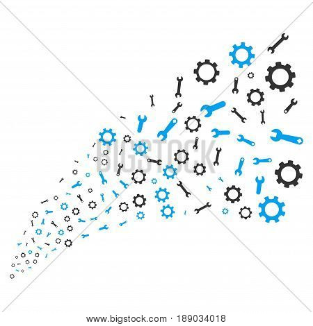 Setup Tools source stream. Vector illustration style is flat blue and gray iconic symbols on a white background. Object source fountain done from random symbols.