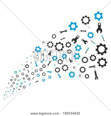 Setup Tools source stream. Vector illustration style is flat blue and gray iconic symbols on a white background. Object fireworks fountain made from scattered pictographs.
