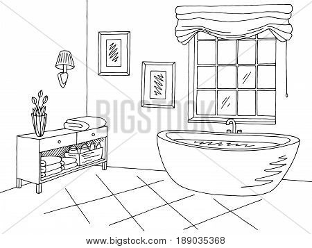 Bathroom graphic interior black white sketch illustration vector
