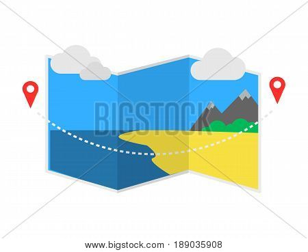 Delivery icon with pin pointer on map. Global or local shipping service, cartography mapping vector illustration isolated on white background.