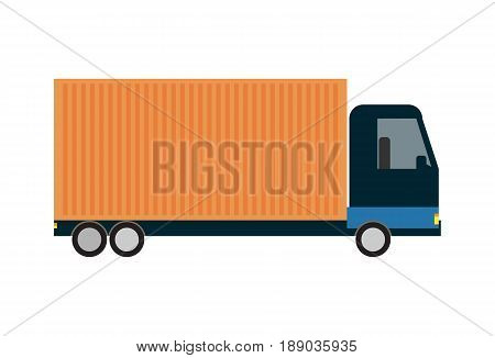 Commercial freight truck isolated icon. Modern lorry truck side view, vehicle for cargo transportation, trucking and delivery service vector illustration
