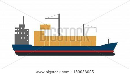 Sea freight icon with container ship. Global shipping, worldwide delivery service vector illustration isolated on white background.