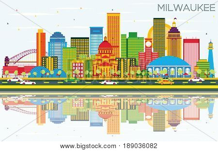 Milwaukee Skyline with Color Buildings, Blue Sky and Reflections. Business Travel and Tourism Concept with Modern Buildings. Image for Presentation Banner Placard and Web Site.
