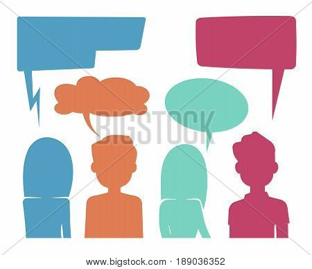 People heads with speech bubbles. Feedback and forum discussion vector concept. Communication people, illustration of colored speech bubble discussion people