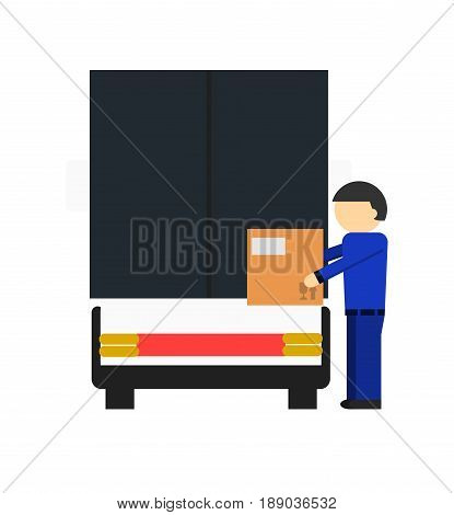 Delivery icon with loader man near freight truck. Global or local shipping service vector illustration isolated on white background.