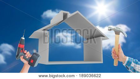 Digital composite of Hands holding tools by house shape against sky