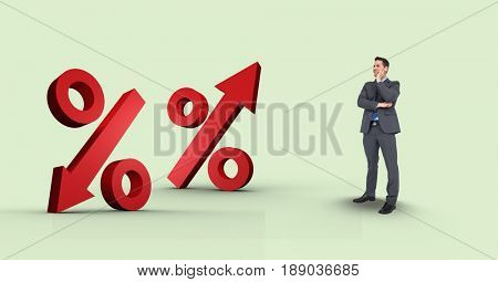 Digital composite of Digital composite image of businessman looking at percentage signs