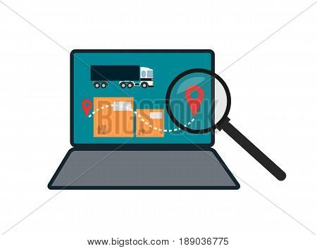 Delivery route on laptop screen icon. Global or local shipping service vector illustration isolated on white background.