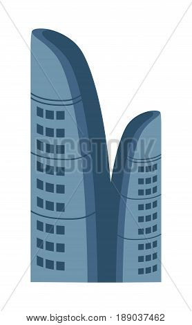 Business centre isolated icon. Commercial real estate, multi storey building, skyscraper, modern architecture design vector illustration.