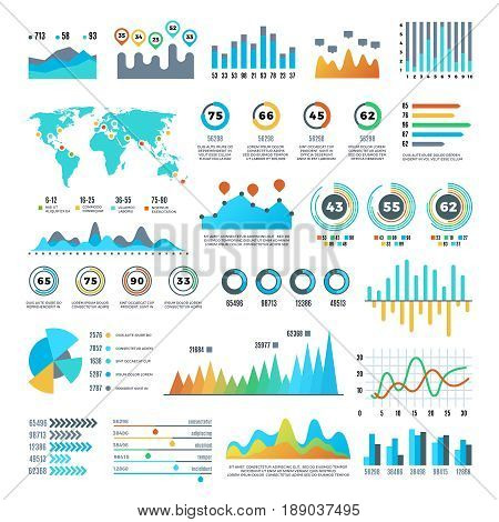 Business demographics and statistics infographic elements with colourful charts, diagrams and graph vector set. Illustration of colored chart and graph report