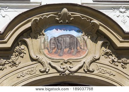 Relief on facade of old building elephant painting on the facade Prague Czech Republic Europe