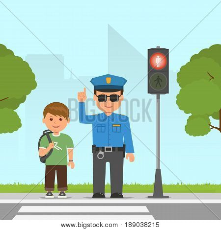 Policeman shows and explains the highway code for student. Pedestrian traffic light. Traffic at the crossroads. Vector illustration in flat style.