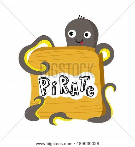 Pirate icon with octopus. Children drawing of pirate accessories vector illustration isolated on white background.