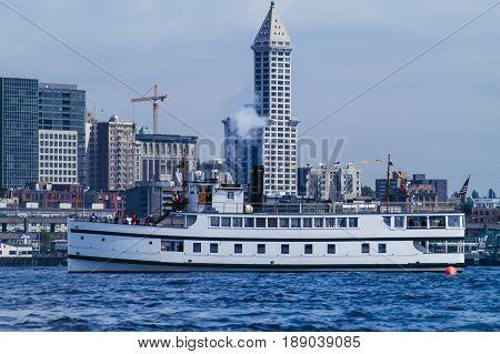 Historic steam vessel on Elliott Bay - Seattle WA