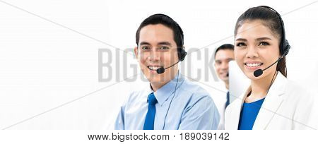 Call center (or telemarketer) team panoramic banner background