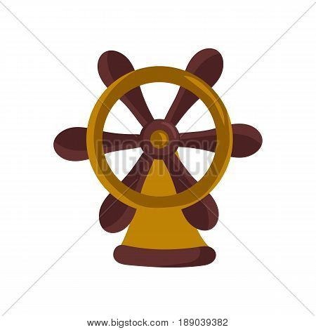 Nautical icon with handwheel. Children drawing of ship accessories vector illustration isolated on white background.