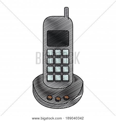 color crayon stripe silhouette of cordless phone vector illustration