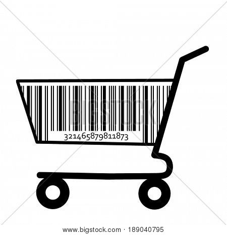 Shopping cart with bar code