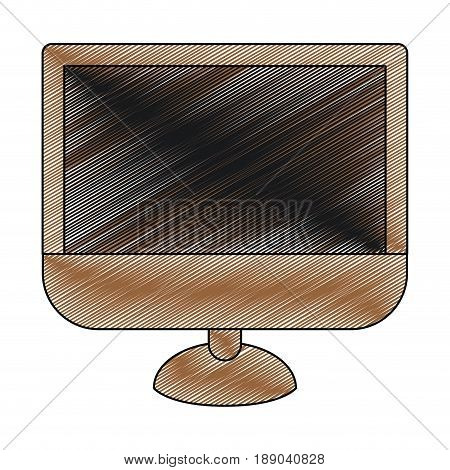 color crayon stripe silhouette of lcd monitor vector illustration