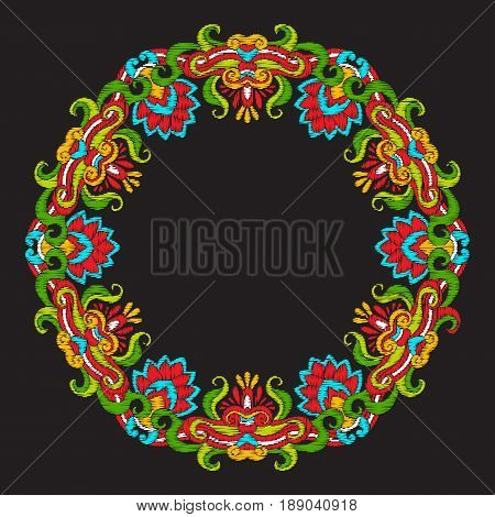 Embroidery with vintage decorative elements in asian style on black background. Stock vector illustration.