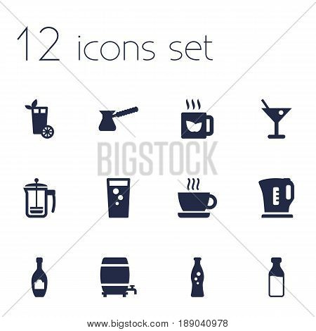 Set Of 12  Icons Set.Collection Of Electric Teapot, Fizzy Water, Soda And Other Elements.