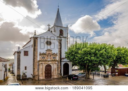 OBIDOS,PORTUGAL - MAY 11,2017 - Church of Santa Maria in Obidos town. The area of the town of Obidos is located on a hilltop encircled by a fortified wall.