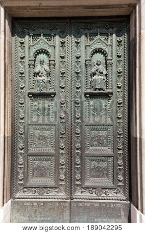 PADUA ITALY - MAY 3 2016: The door of Basilica of Saint Anthony in Padua Italy