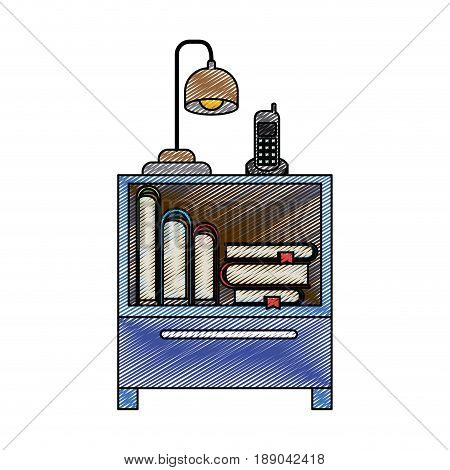 color crayon stripe silhouette of nightstand with cordless phone and lamp and books stacking vector illustration