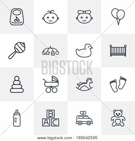Set Of 16 Kid Outline Icons Set.Collection Of Balloons, Clockwork Car, Boy And Other Elements.