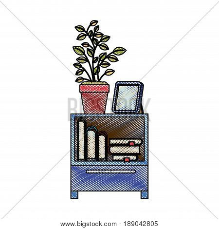 color crayon stripe silhouette of decorative cabinet table with books and plantpot vector illustration