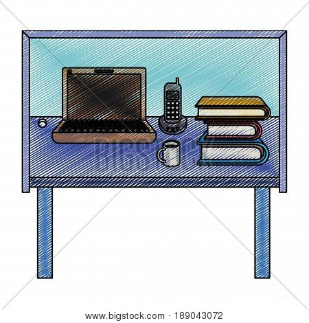 color crayon stripe silhouette of desk home office basic vector illustration