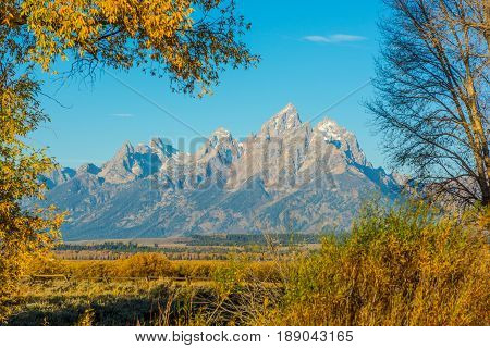 Grand Teton viewed across Snake River in Grand Tetons NP WY