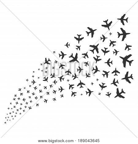 Jet Plane source stream. Vector illustration style is flat gray iconic symbols on a white background. Object stream fountain made from scattered design elements.