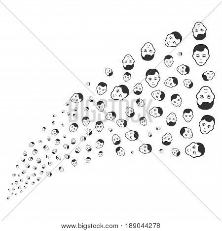 Man Head source stream. Vector illustration style is flat gray iconic symbols on a white background. Object stream fountain done from randomized pictograms.