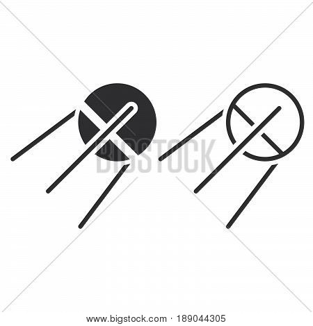 Satellite Line Icon, Sputnik Outline And Solid Vector Sign, Linear And Full Pictogram Isolated On Wh