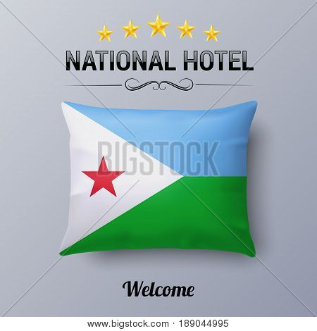 Realistic Pillow and Flag of Djibouti as Symbol National Hotel. Flag Pillow Cover with Djiboutian flag