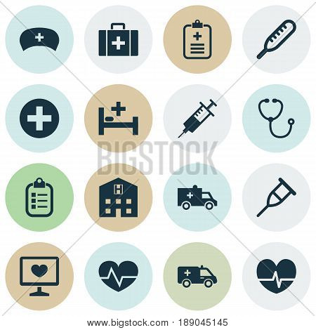 Antibiotic Icons Set. Collection Of Diagnosis, Injection, Stand Elements. Also Includes Symbols Such As Cap, Rack, Diagnostics.