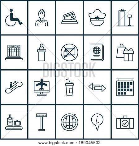 Traveling Icons Set. Collection Of Identification Document, Info Pointer, World And Other Elements. Also Includes Symbols Such As Construction, Citizenship, Online.