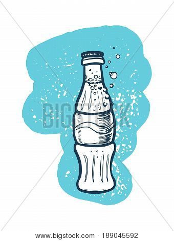 Soda cola bottle hand drawn icon. Fast food restaurant menu sketch, vintage vector illustration isolated on white background.