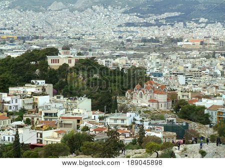 Impressive Cityscape of Athens view from the Philopappos Hill in Athens, Greece
