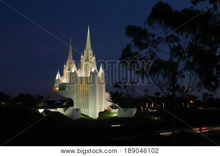 Mormon Temple San Diego CA from across the freeway