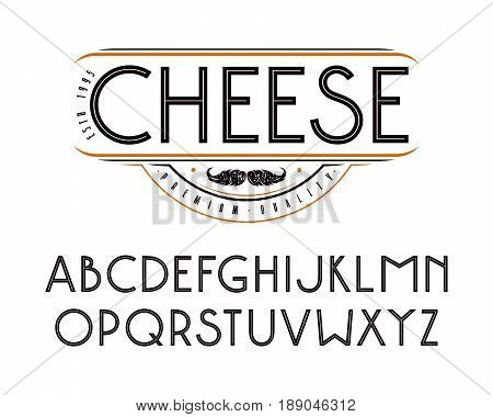 Decorative sanserif font with an internal contour. Medium face. Black font on white background
