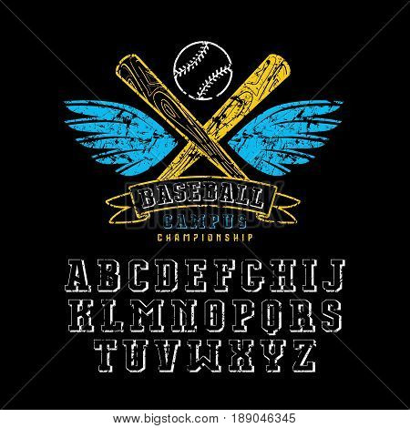 Decorative serif font and baseball emblem for t-shirt. Design with shabby texture. Color print on black background