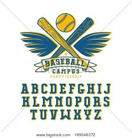 Decorative serif font and baseball emblem for t-shirt. Color print on white background