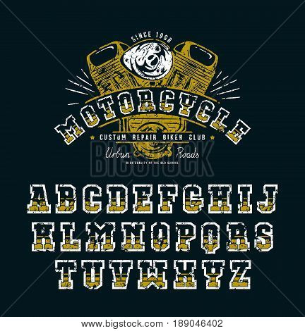Decorative serif font in biker style. Letters with shabby texture. Graphic design for t-shirt titles and logo. Color print on black background