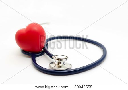 Red Heart And A Stethoscope On White Background, Health Care Medical Technology Concept, Soft Focus,