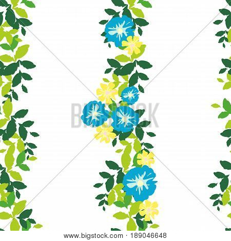 Seamless pattern with vertical stripes of green leaves and flowers on a white background. Bright and rich plant texture for textiles nd various designs. vector