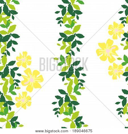 Seamless pattern with vertical stripes of green leaves and yellow flowers on a white background. Bright and rich plant texture for textiles, and various designs. vector