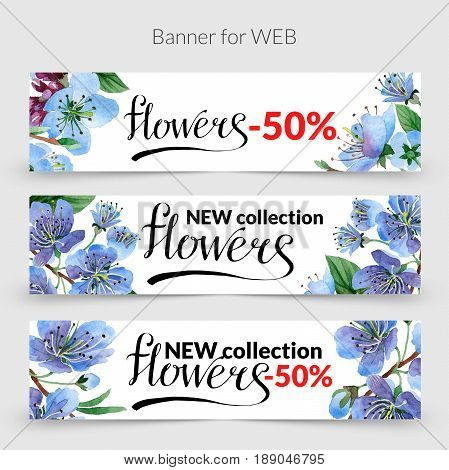 Wildflower cherry promo sale banner template in a watercolor style isolated. Aquarelle wildflower cherry promo sale banner template for background, texture, wrapper pattern, frame or border.
