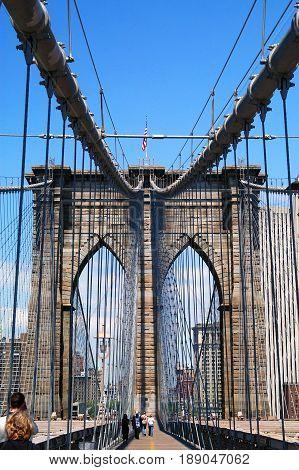 Brooklyn Bridge New York NY taken from the Brooklyn Side